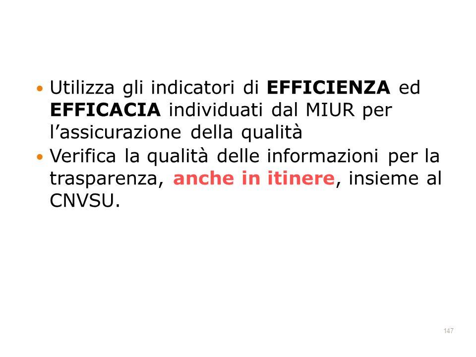 Utilizza gli indicatori di EFFICIENZA ed EFFICACIA individuati dal MIUR per l'assicurazione della qualità