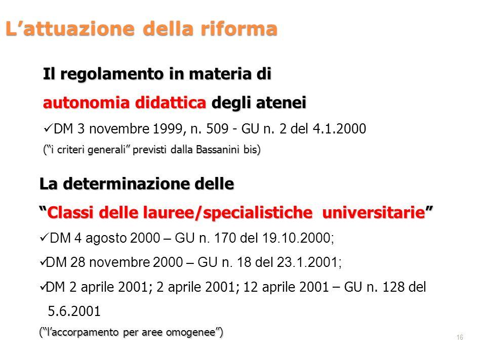 L'attuazione della riforma