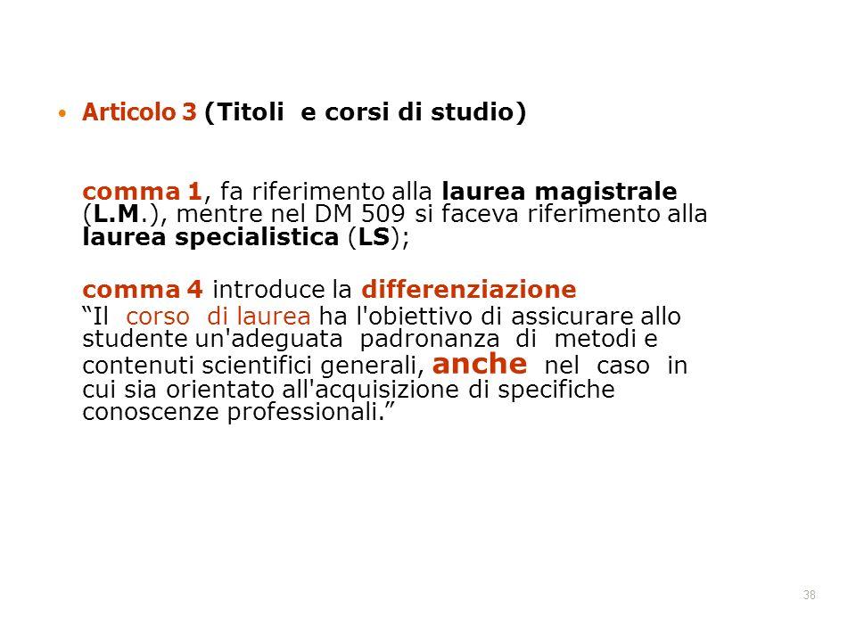 Articolo 3 (Titoli e corsi di studio)