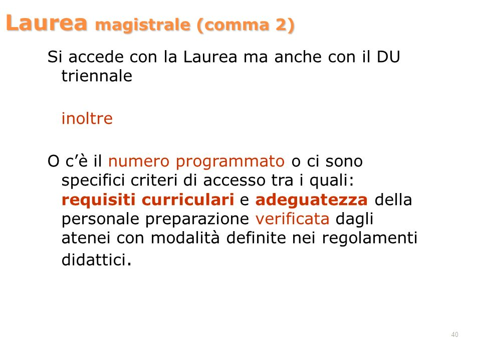 Laurea magistrale (comma 2)