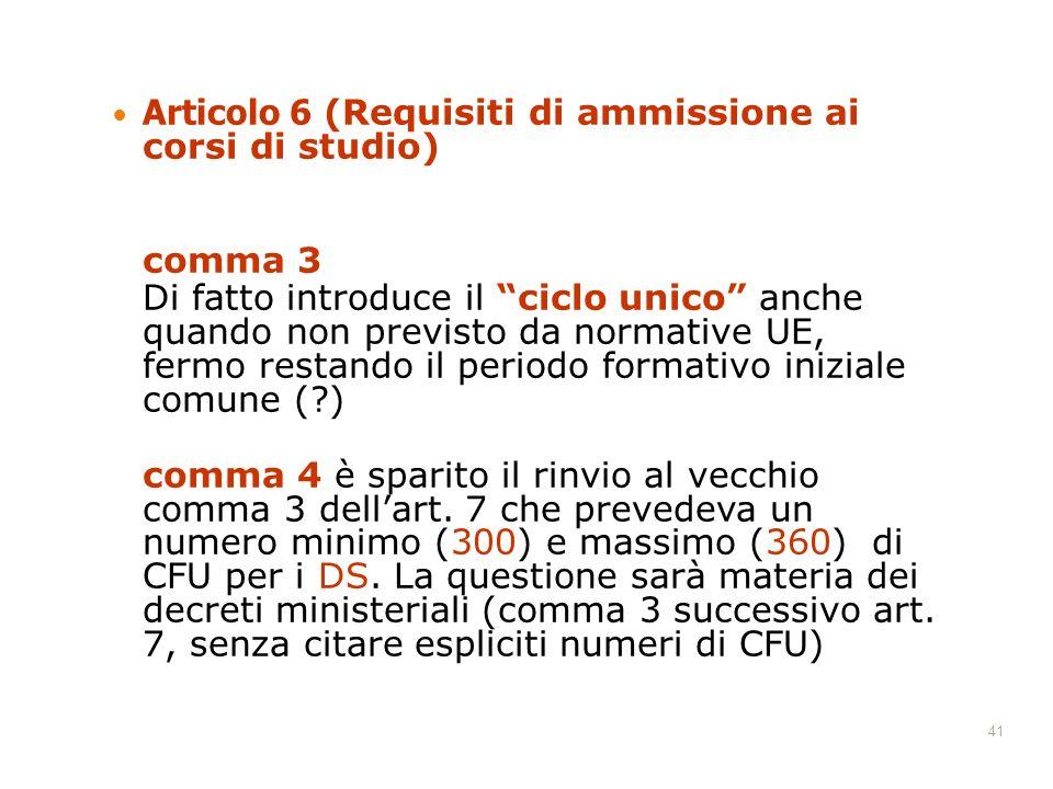 Articolo 6 (Requisiti di ammissione ai corsi di studio)