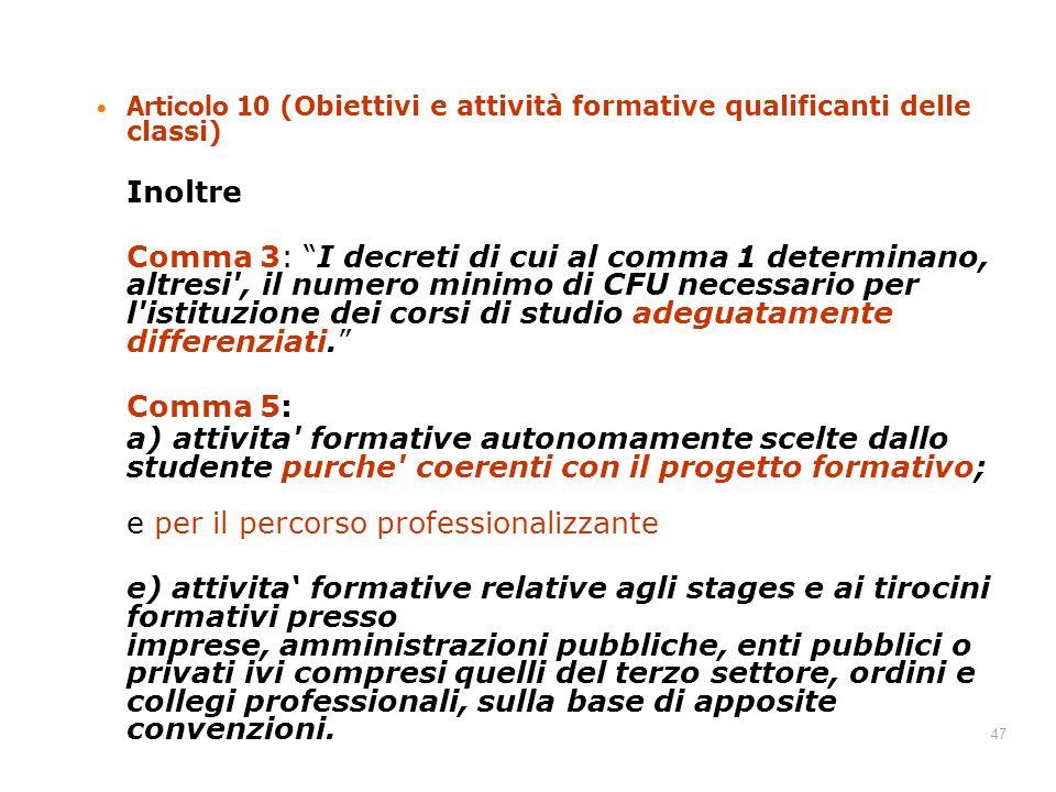 Articolo 10 (Obiettivi e attività formative qualificanti delle classi)