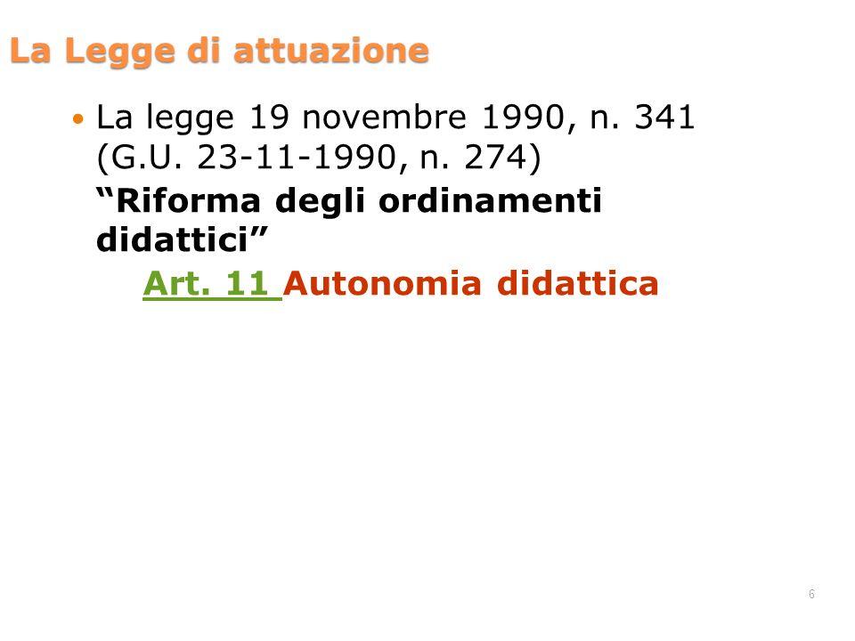 Art. 11 Autonomia didattica