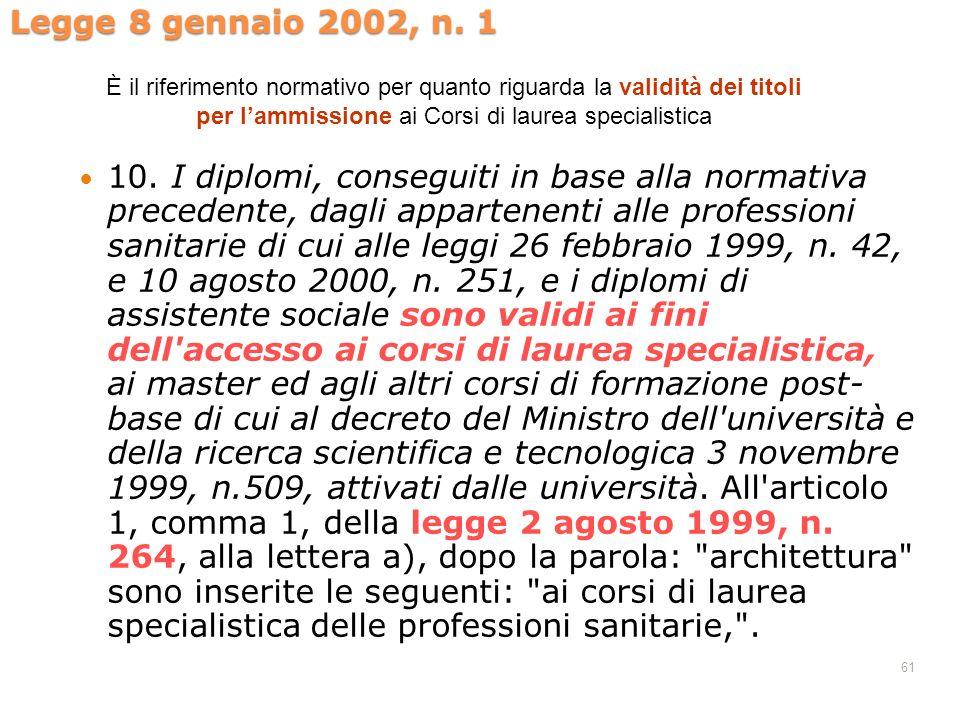 Legge 8 gennaio 2002, n. 1 È il riferimento normativo per quanto riguarda la validità dei titoli per l'ammissione ai Corsi di laurea specialistica.