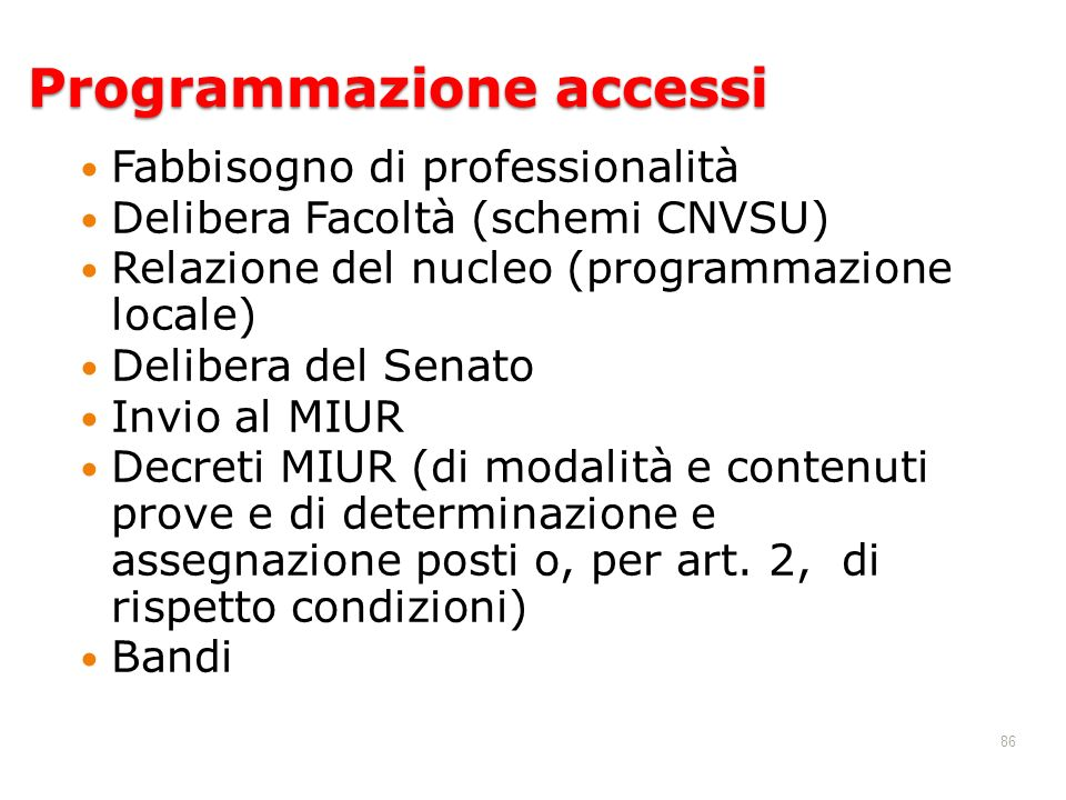 Programmazione accessi