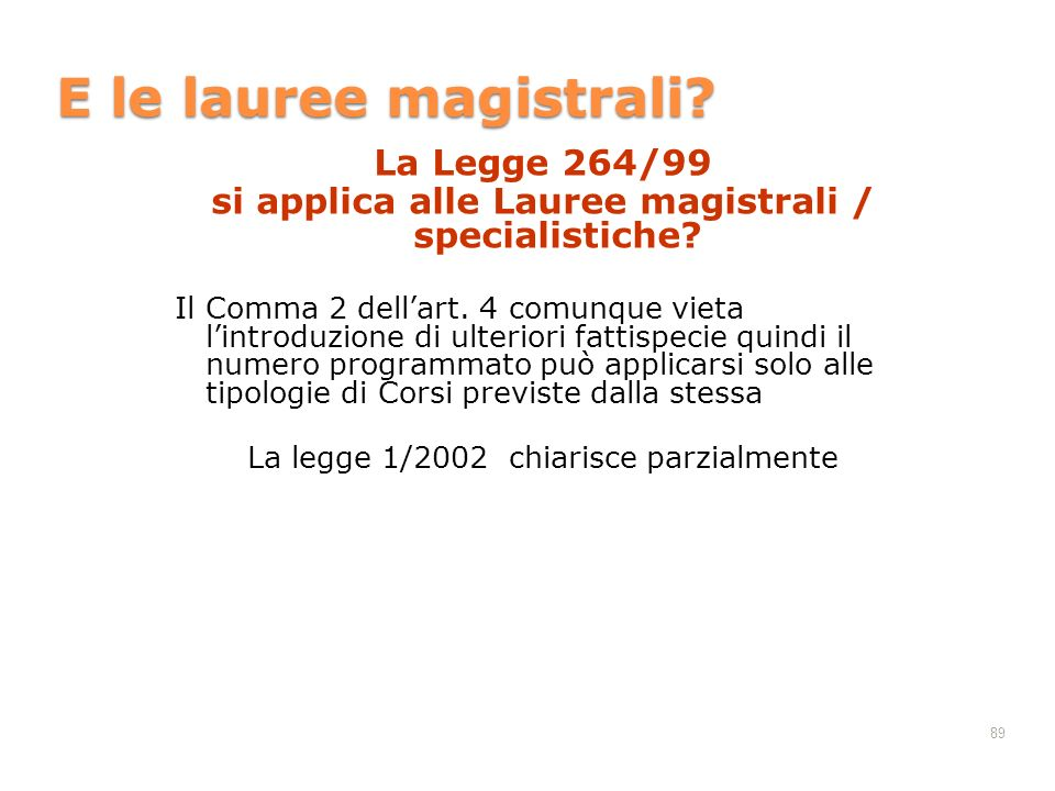 si applica alle Lauree magistrali / specialistiche