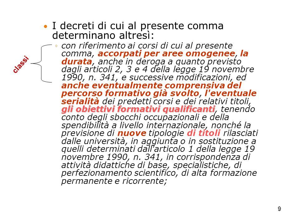 I decreti di cui al presente comma determinano altresì: