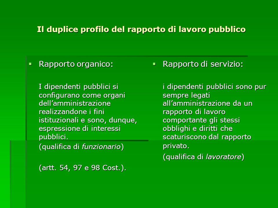 Il duplice profilo del rapporto di lavoro pubblico