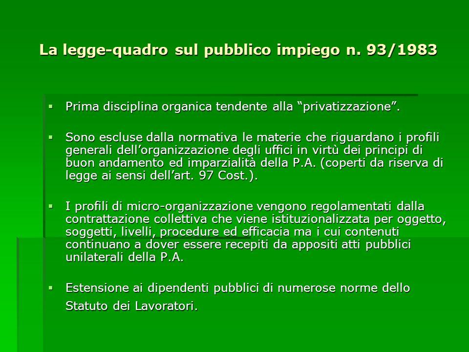La legge-quadro sul pubblico impiego n. 93/1983