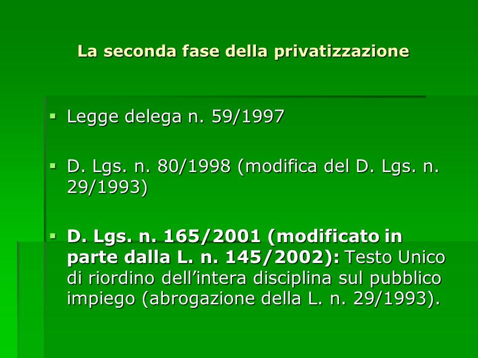 La seconda fase della privatizzazione