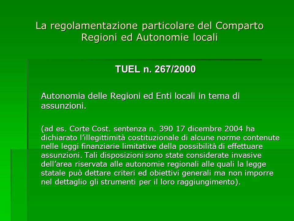La regolamentazione particolare del Comparto Regioni ed Autonomie locali