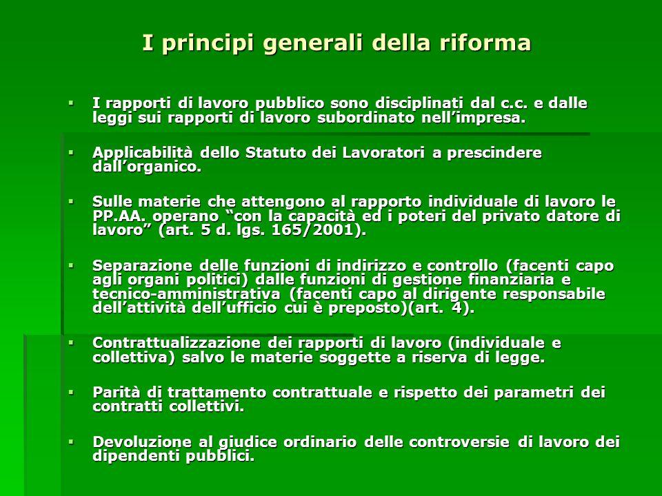 I principi generali della riforma