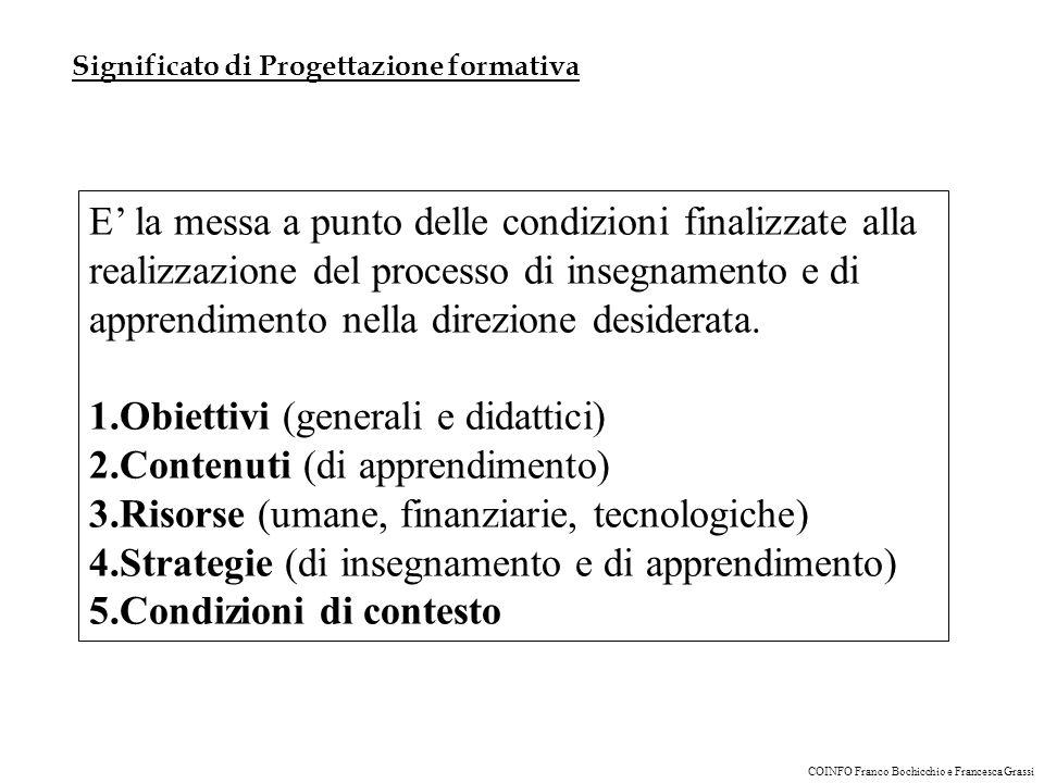 Obiettivi (generali e didattici) Contenuti (di apprendimento)