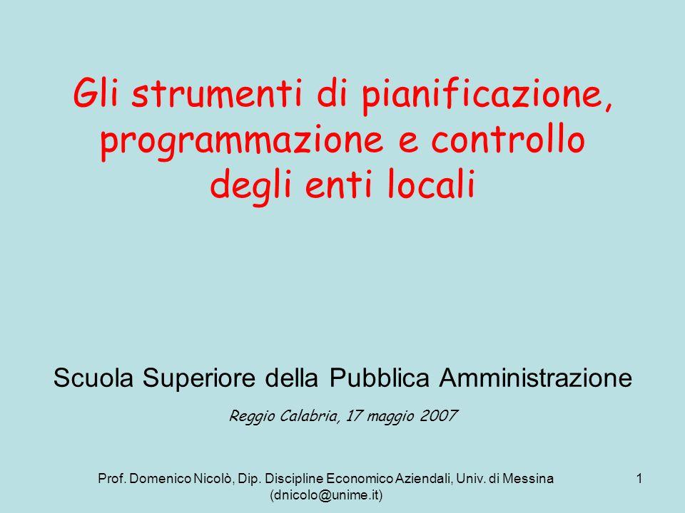 Gli strumenti di pianificazione, programmazione e controllo degli enti locali