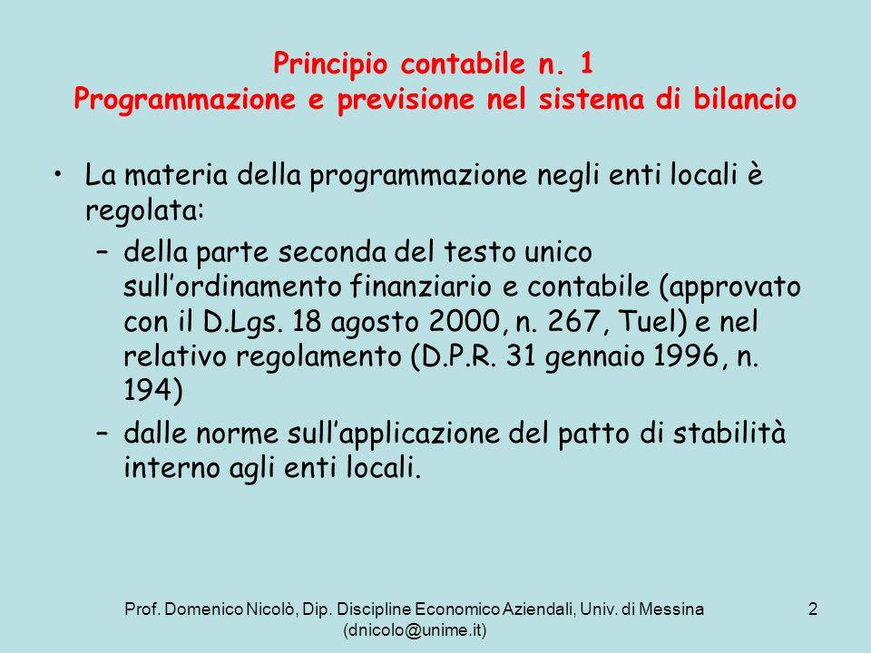 La materia della programmazione negli enti locali è regolata: