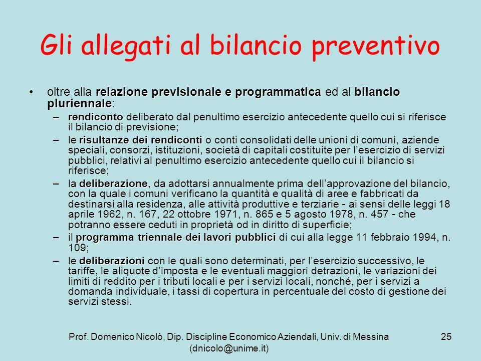 Gli allegati al bilancio preventivo