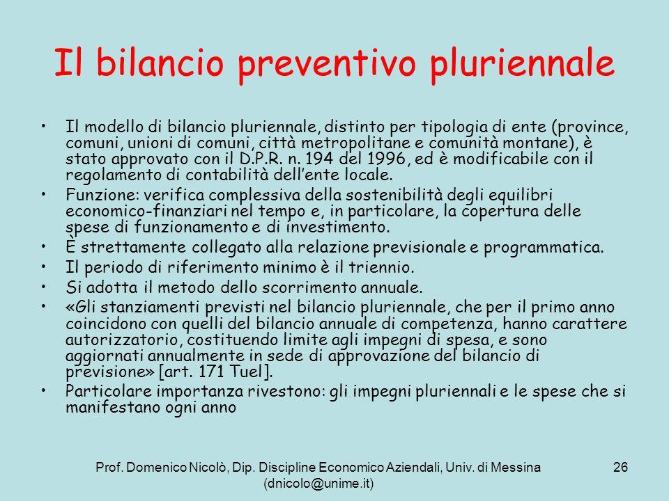Il bilancio preventivo pluriennale