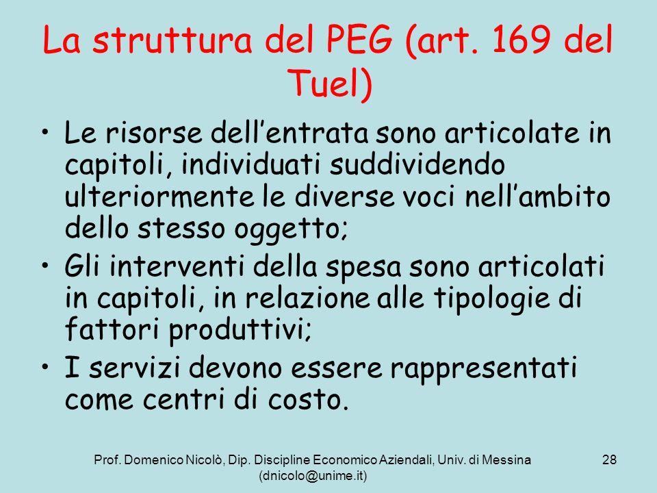 La struttura del PEG (art. 169 del Tuel)