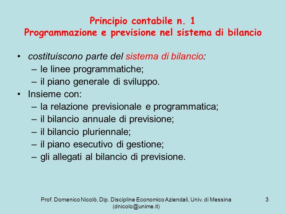 costituiscono parte del sistema di bilancio: le linee programmatiche;