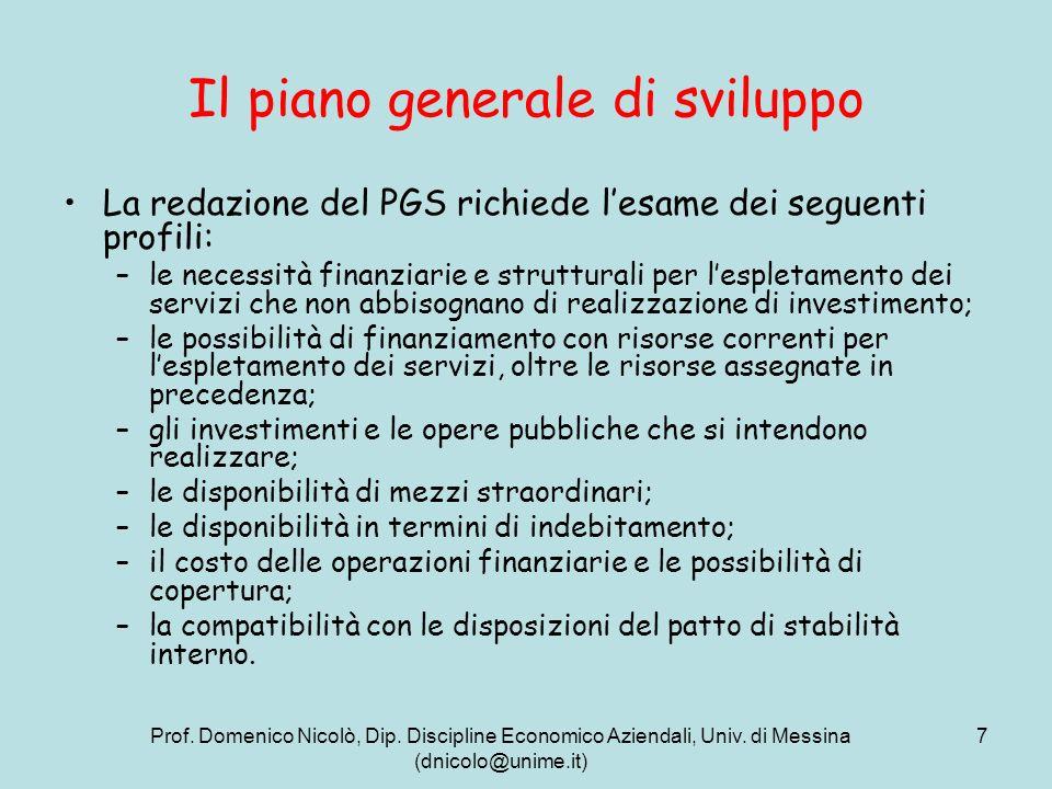 Il piano generale di sviluppo