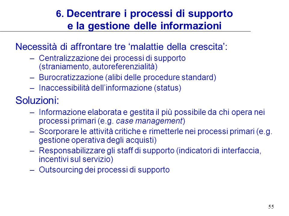 6. Decentrare i processi di supporto e la gestione delle informazioni