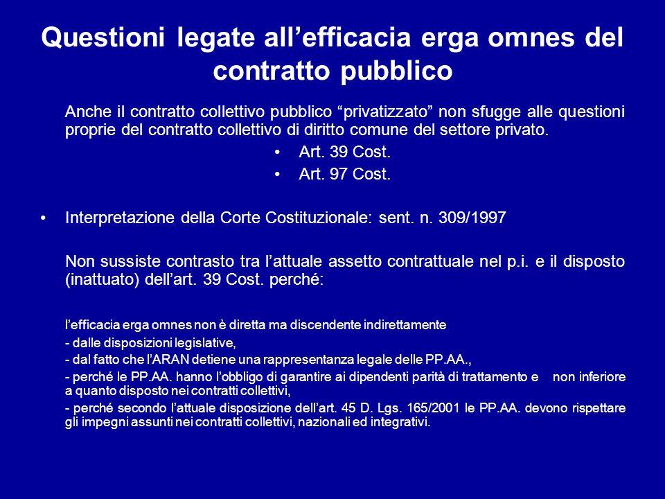 Questioni legate all'efficacia erga omnes del contratto pubblico