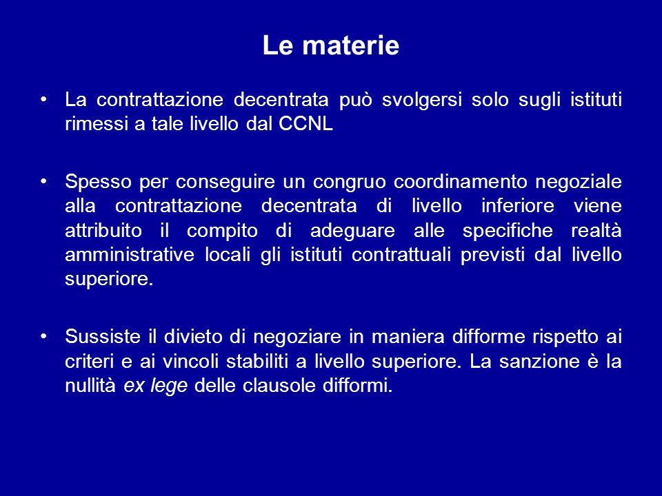 Le materie La contrattazione decentrata può svolgersi solo sugli istituti rimessi a tale livello dal CCNL.