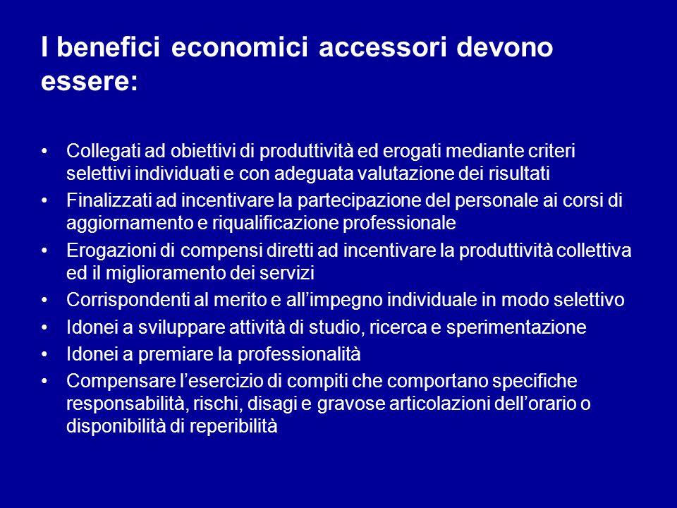 I benefici economici accessori devono essere: