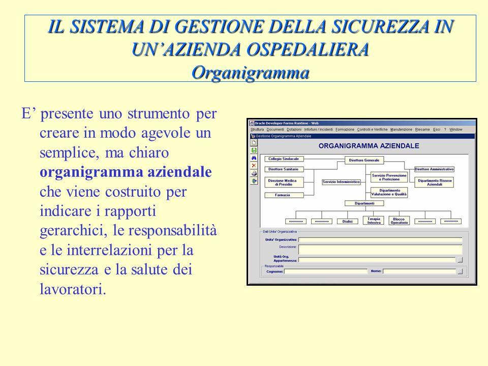 IL SISTEMA DI GESTIONE DELLA SICUREZZA IN UN'AZIENDA OSPEDALIERA Organigramma