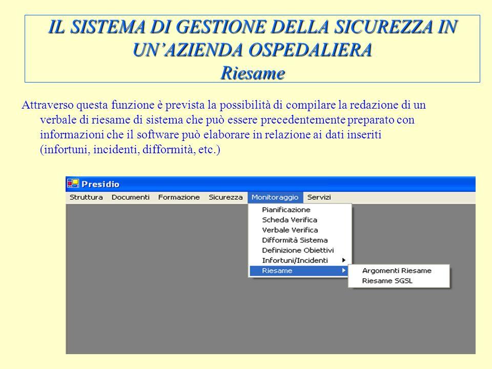 IL SISTEMA DI GESTIONE DELLA SICUREZZA IN UN'AZIENDA OSPEDALIERA Riesame