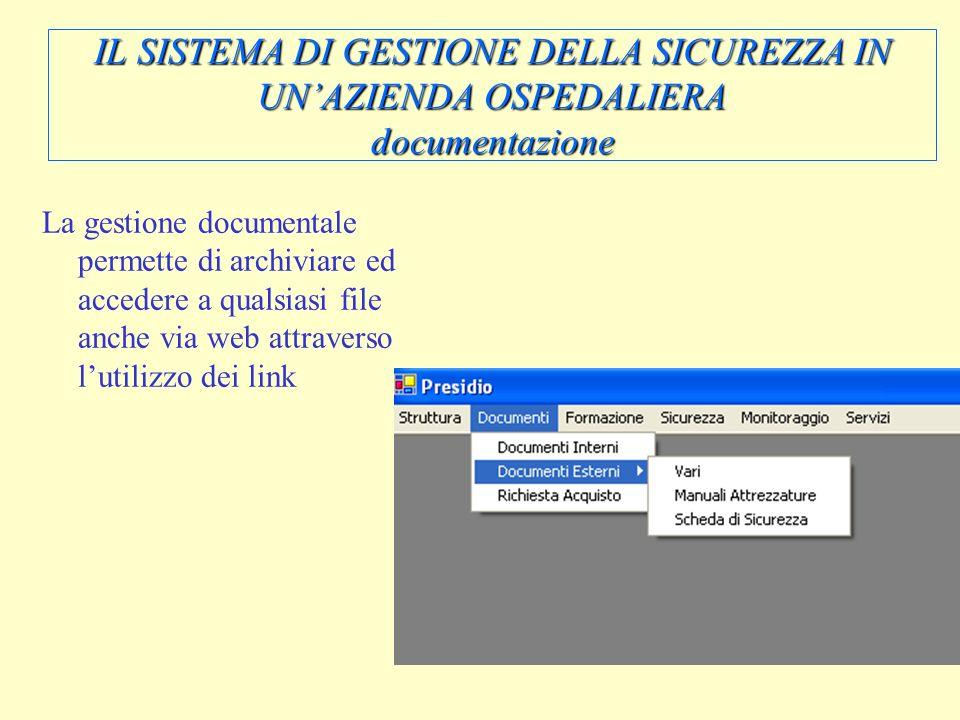 IL SISTEMA DI GESTIONE DELLA SICUREZZA IN UN'AZIENDA OSPEDALIERA documentazione