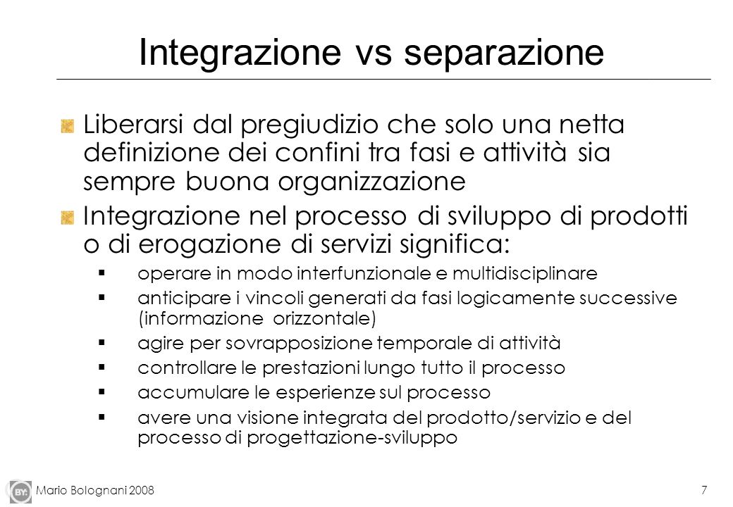 Integrazione vs separazione