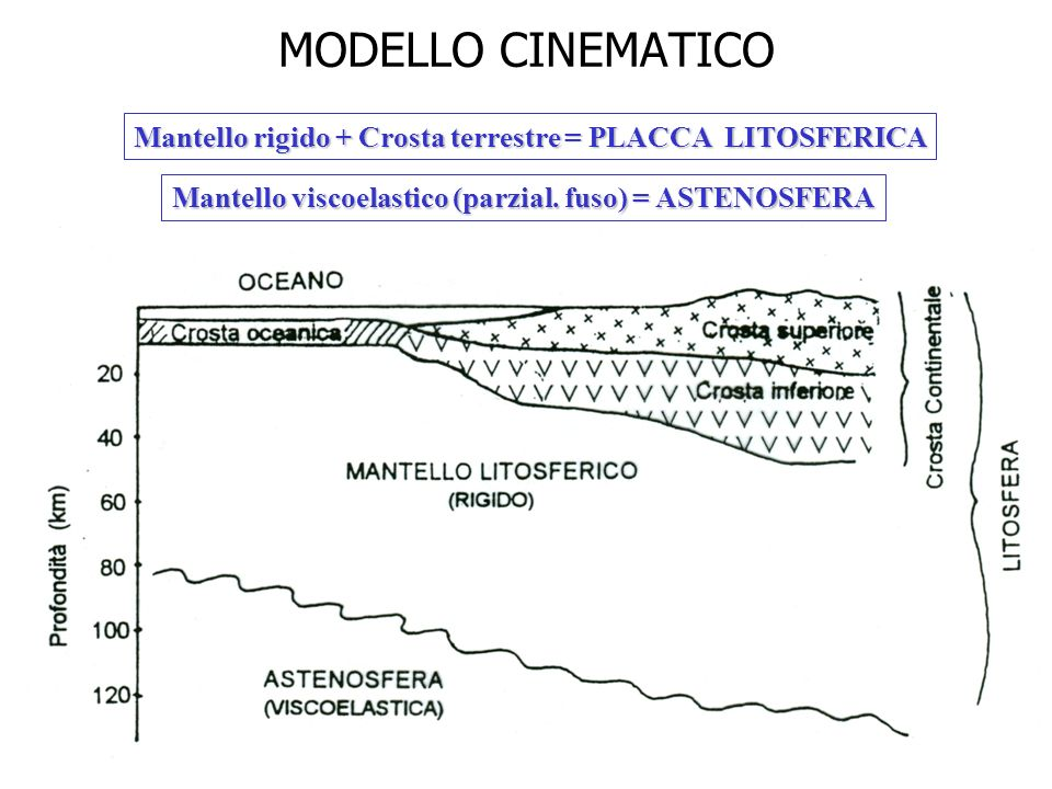 MODELLO CINEMATICO Mantello rigido + Crosta terrestre = PLACCA LITOSFERICA.