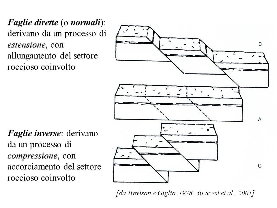Faglie dirette (o normali): derivano da un processo di estensione, con allungamento del settore roccioso coinvolto