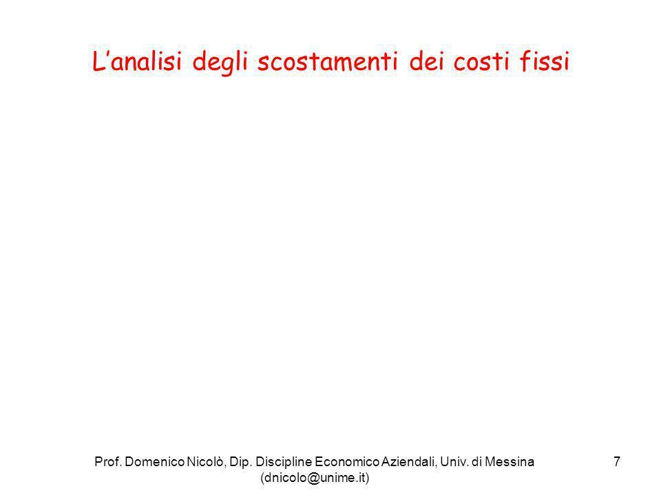 L'analisi degli scostamenti dei costi fissi