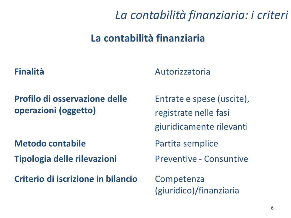 La contabilità finanziaria: i criteri