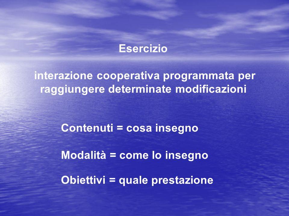 Esercizio interazione cooperativa programmata per raggiungere determinate modificazioni. Contenuti = cosa insegno.