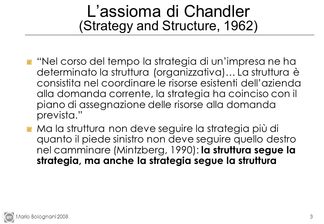 L'assioma di Chandler (Strategy and Structure, 1962)