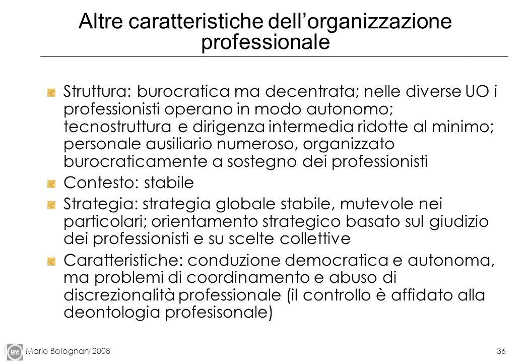 Altre caratteristiche dell'organizzazione professionale