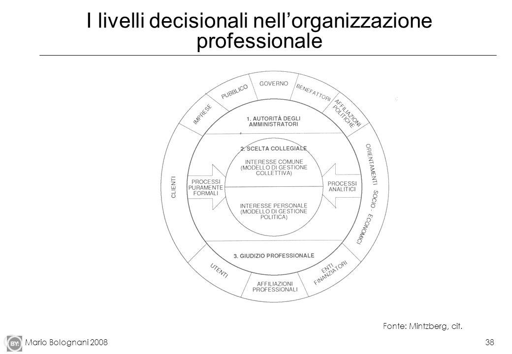I livelli decisionali nell'organizzazione professionale