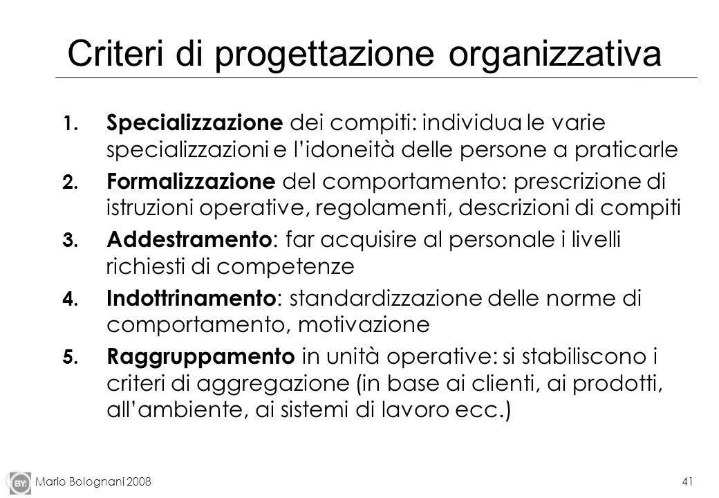 Criteri di progettazione organizzativa