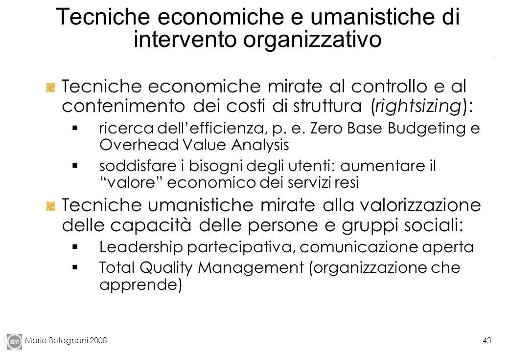 Tecniche economiche e umanistiche di intervento organizzativo