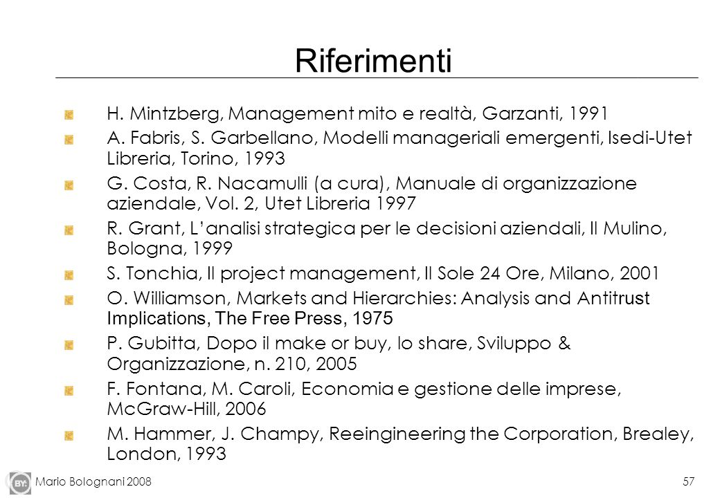 Riferimenti H. Mintzberg, Management mito e realtà, Garzanti, 1991