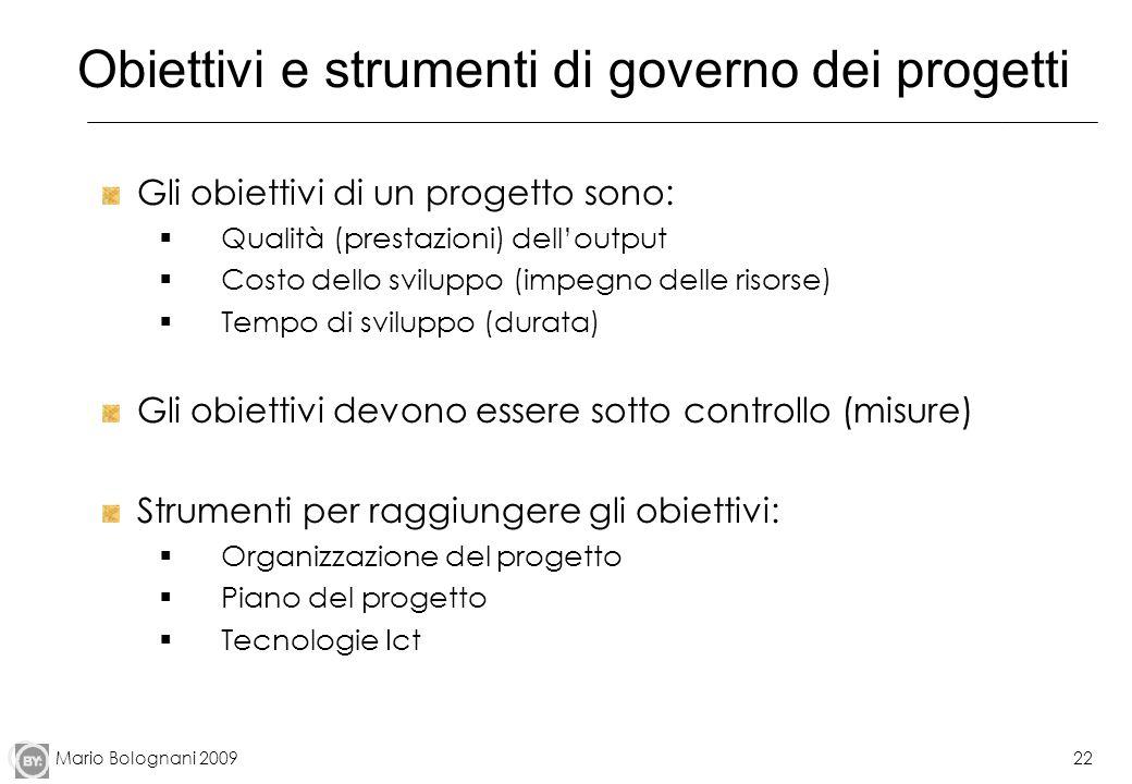 Obiettivi e strumenti di governo dei progetti