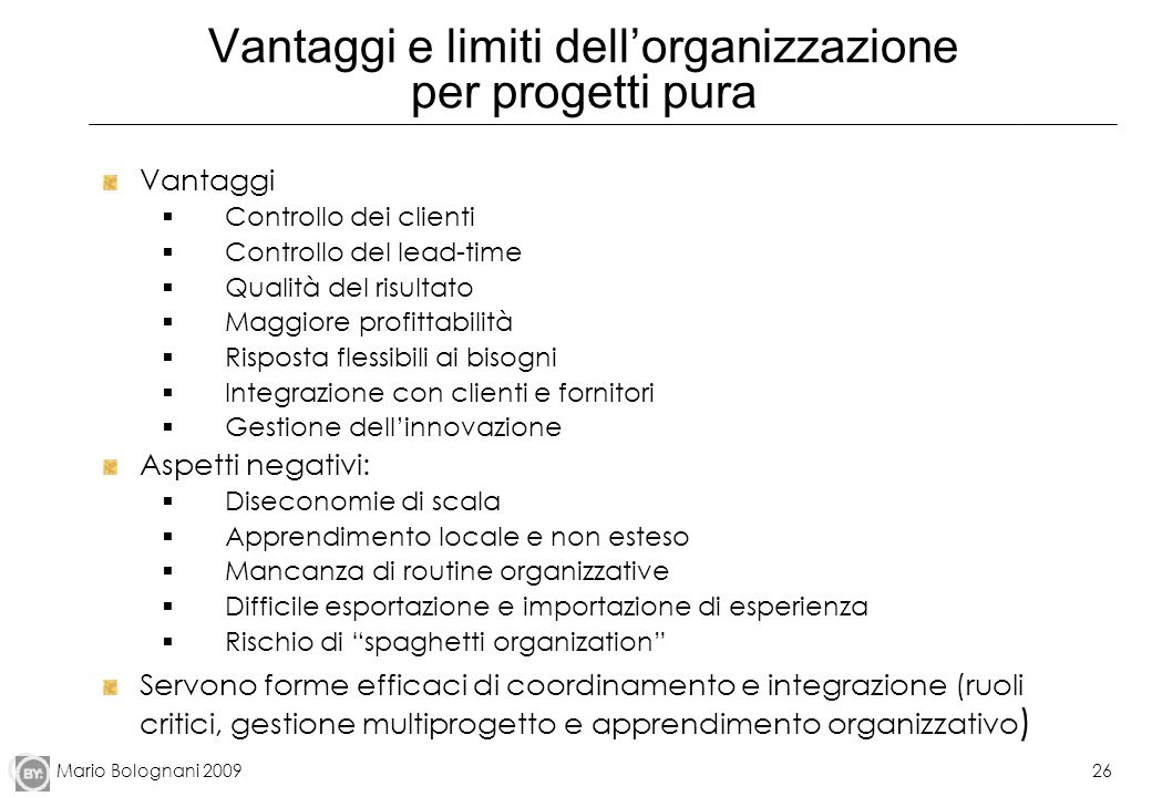 Vantaggi e limiti dell'organizzazione per progetti pura