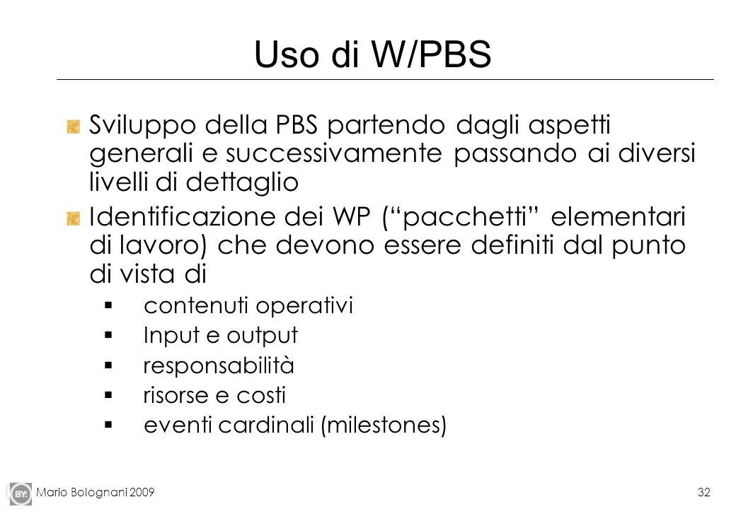 Uso di W/PBS Sviluppo della PBS partendo dagli aspetti generali e successivamente passando ai diversi livelli di dettaglio.