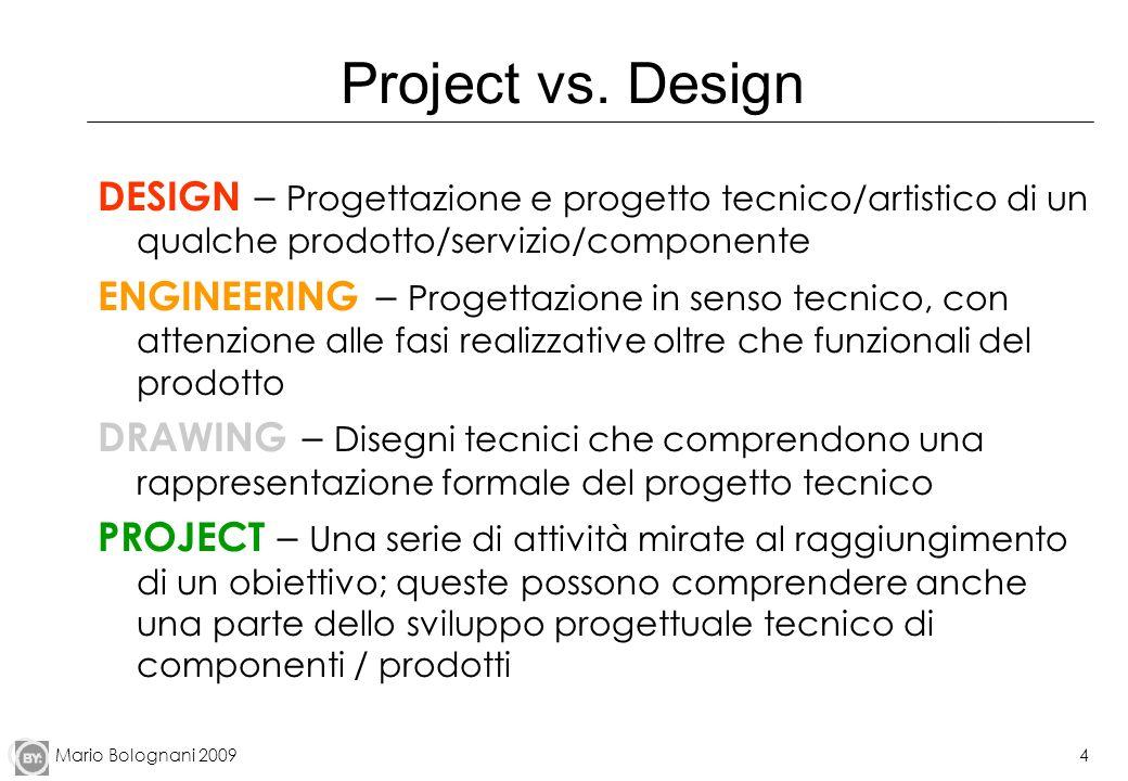 Project vs. Design DESIGN – Progettazione e progetto tecnico/artistico di un qualche prodotto/servizio/componente.