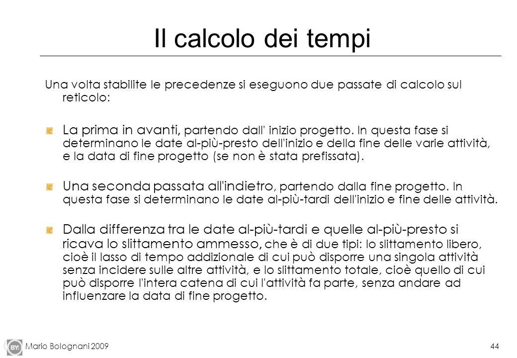 Il calcolo dei tempiUna volta stabilite le precedenze si eseguono due passate di calcolo sul reticolo: