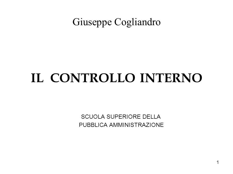 IL CONTROLLO INTERNO Giuseppe Cogliandro PUBBLICA AMMINISTRAZIONE