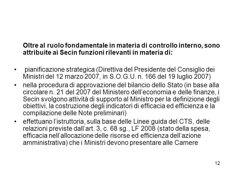 Oltre al ruolo fondamentale in materia di controllo interno, sono attribuite ai Secin funzioni rilevanti in materia di: